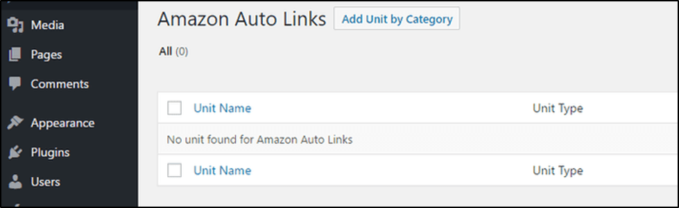 Amazon Auto Links settings in WordPress dashboard